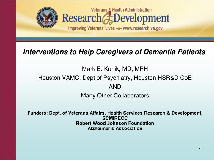 Interventions to help caregivers of dementia patients