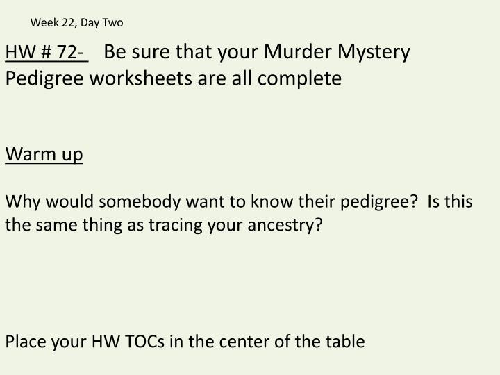 PPT HW 72 Be sure that your Murder Mystery Pedigree – Pedigree Worksheets