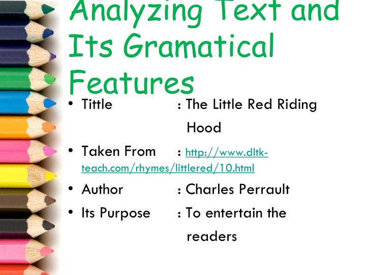 Analyzing text and its gramatical features