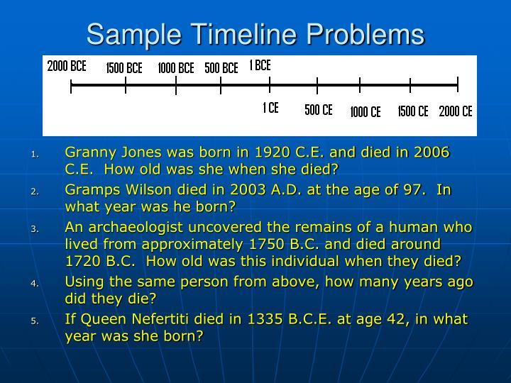 Sample Timeline Problems