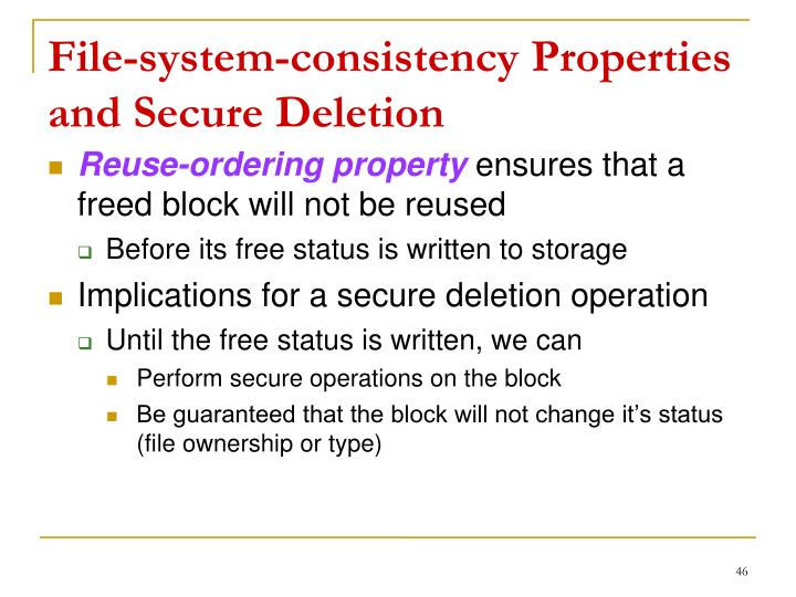 File-system-consistency Properties and Secure Deletion