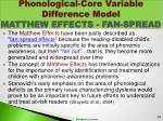phonological core variable difference model matthew effects fan spread