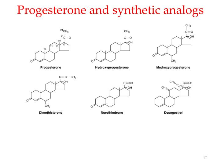 Progesterone and synthetic analogs