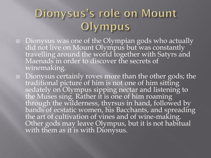 Dionysus's role on Mount Olympus