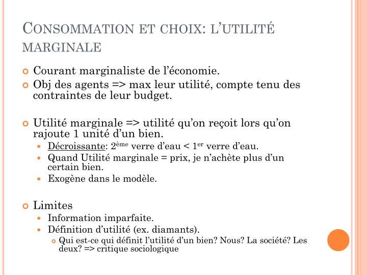 Consommation et choix: l'utilité marginale