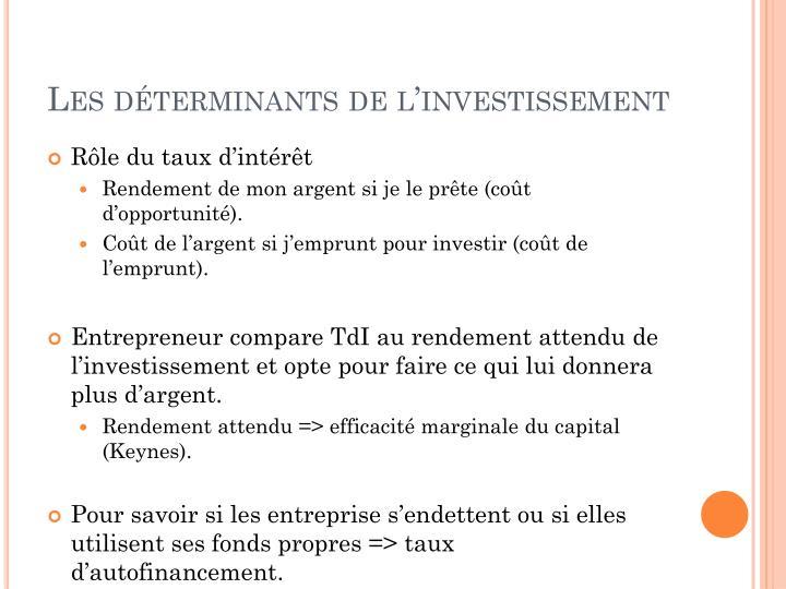 Les déterminants de l'investissement