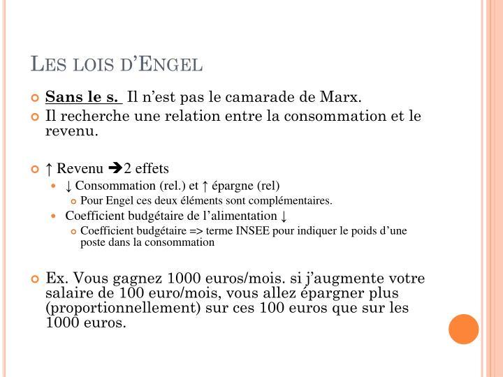 Les lois d'Engel