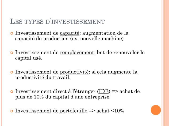 Les types d'investissement