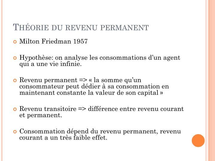 Théorie du revenu permanent