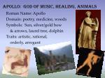 apollo god of music healing animals