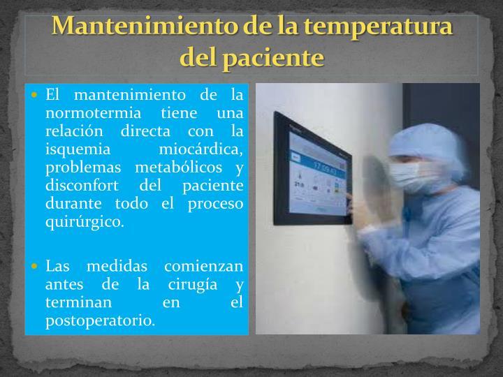 Mantenimiento de la temperatura del paciente