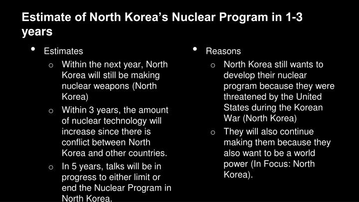 Estimate of North Korea's Nuclear Program in 1-3 years