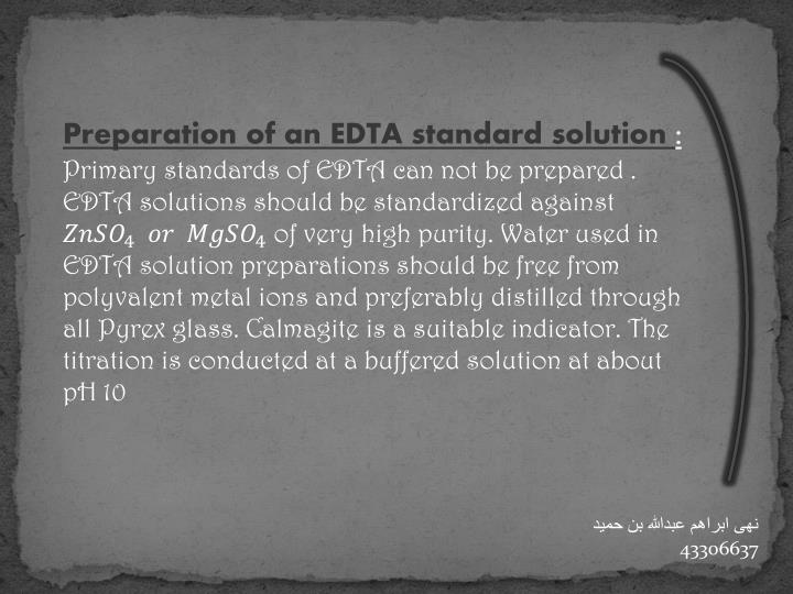Preparation of an EDTA standard solution