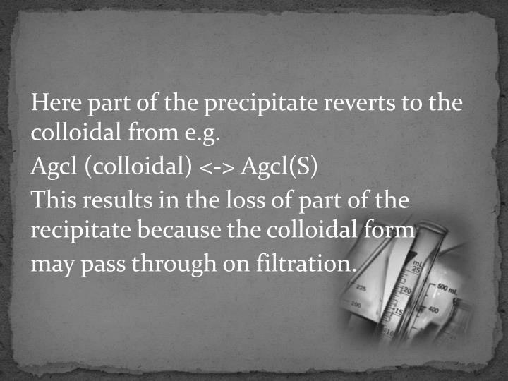 Here part of the precipitate reverts to the colloidal from e.g.