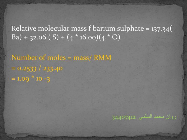 Relative molecular mass f barium