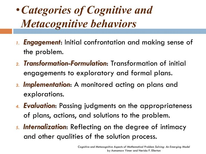 Categories of Cognitive and Metacognitive behaviors