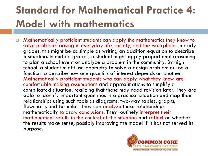 Standard for Mathematical Practice