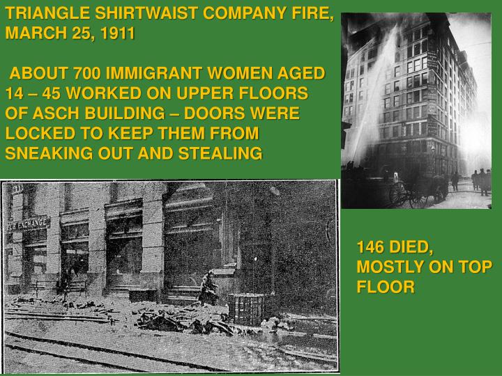 TRIANGLE SHIRTWAIST COMPANY FIRE, MARCH 25, 1911
