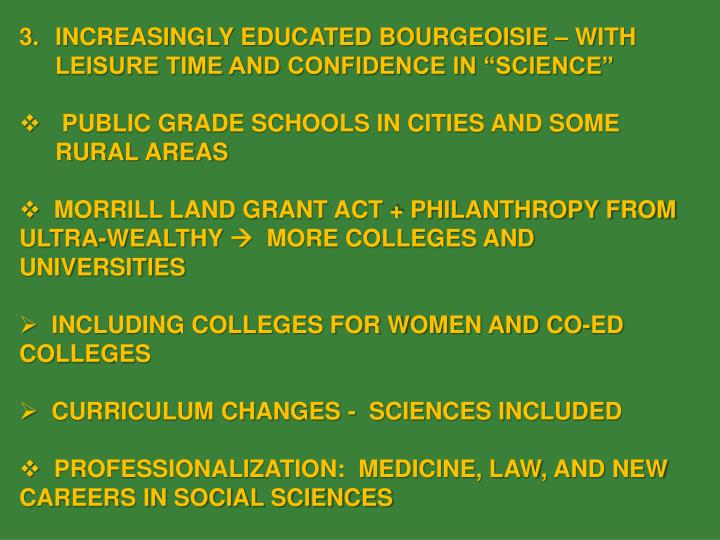 """INCREASINGLY EDUCATED BOURGEOISIE – WITH LEISURE TIME AND CONFIDENCE IN """"SCIENCE"""""""
