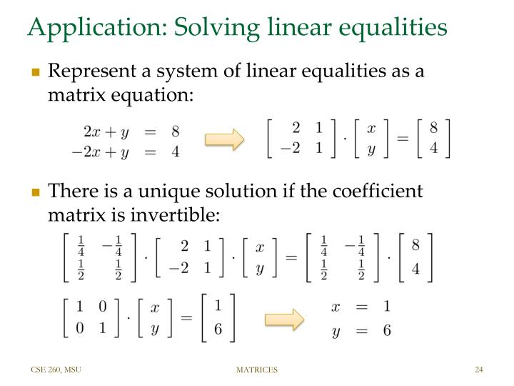 Application: Solving linear equalities