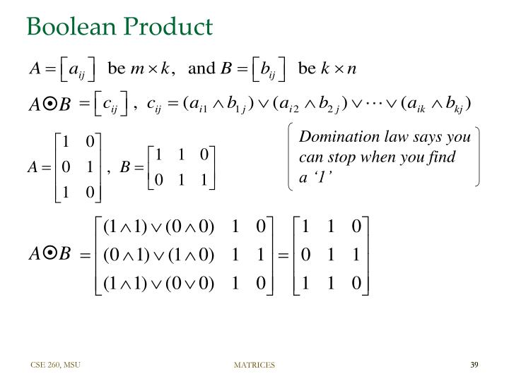Boolean Product