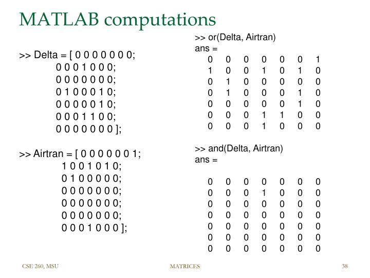 MATLAB computations