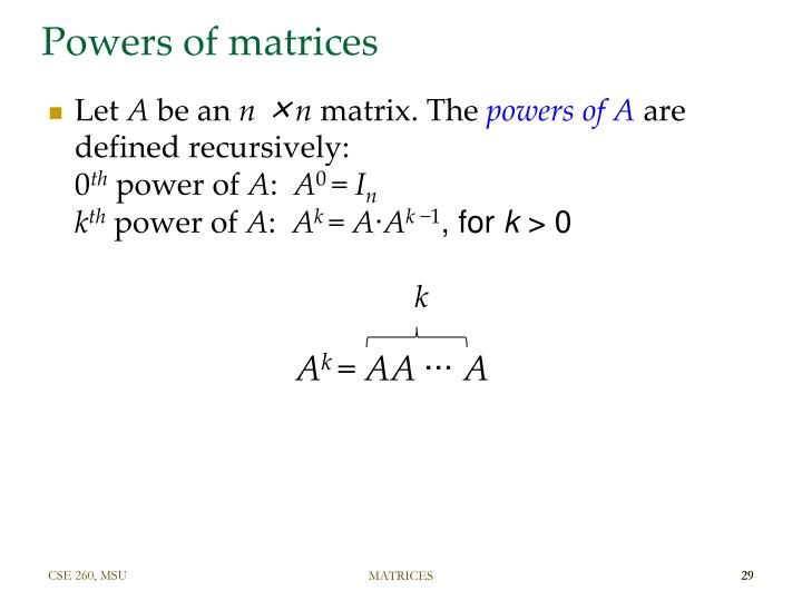 Powers of matrices
