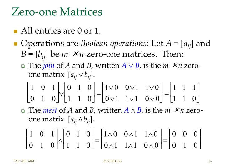 Zero-one Matrices