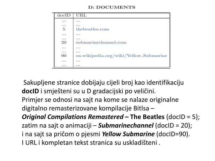 Sakupljene stranice dobijaju cijeli broj kao identifikaciju