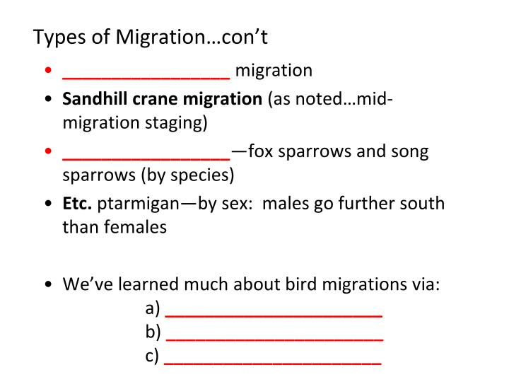 Types of Migration…