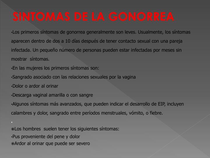 SINTOMAS DE LA GONORREA