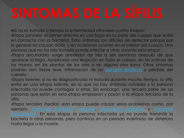 SINTOMAS DE LA SÍFILIS