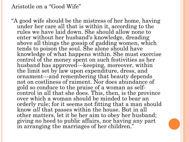 "Aristotle on a ""Good Wife"""