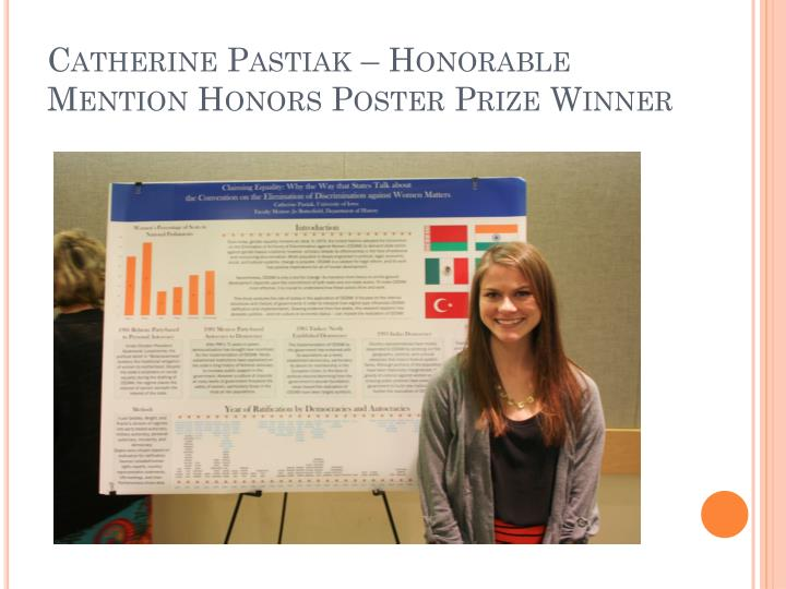 Catherine pastiak honorable mention honors poster prize winner