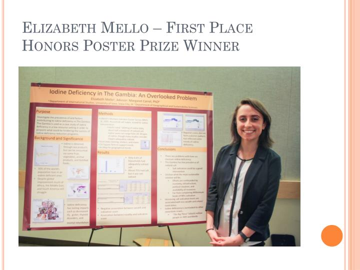 Elizabeth mello first place honors poster prize winner