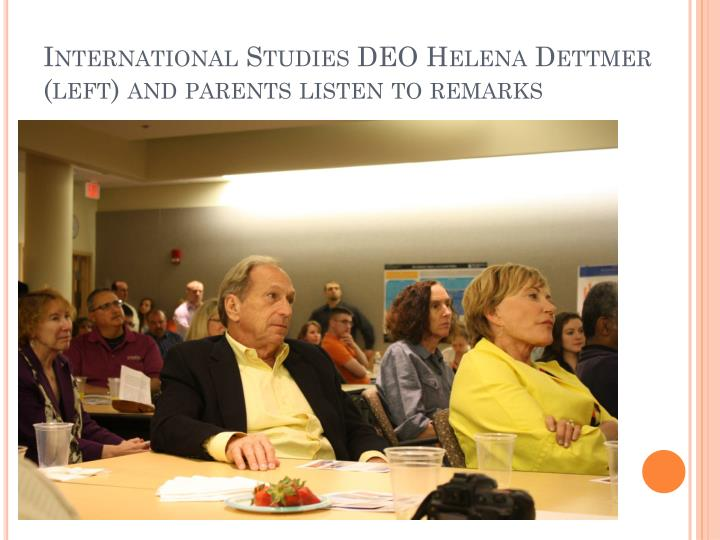 International Studies DEO Helena Dettmer (left) and parents