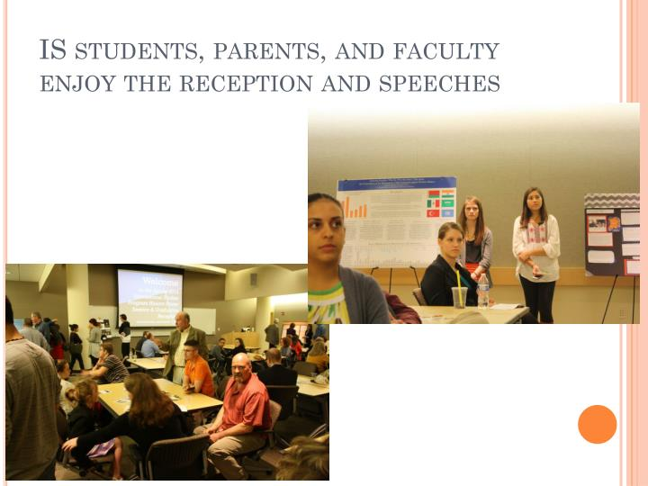 IS students, parents, and faculty enjoy the reception and speeches