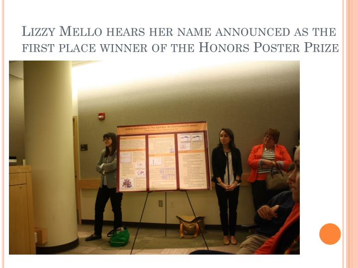 Lizzy Mello hears her name announced as the first place winner of the Honors Poster Prize