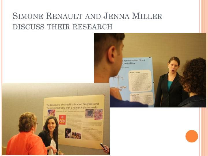 Simone Renault and Jenna Miller discuss their research