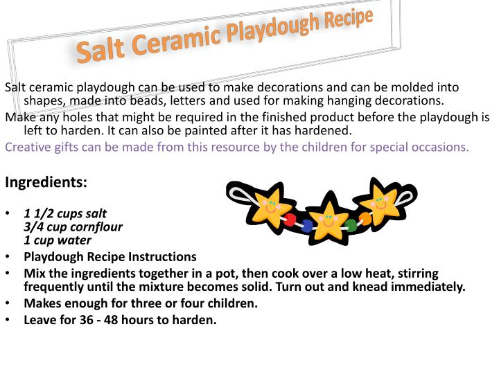 Salt ceramic playdough recipe