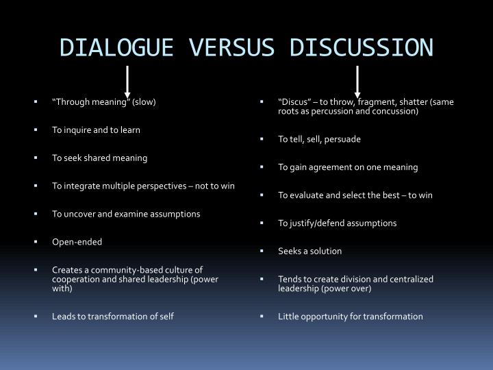 DIALOGUE VERSUS DISCUSSION