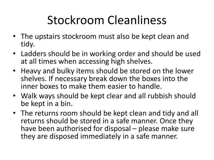 Stockroom Cleanliness