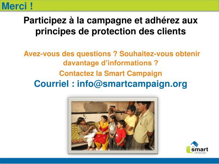 Participez à la campagne et adhérez aux principes de protection des clients