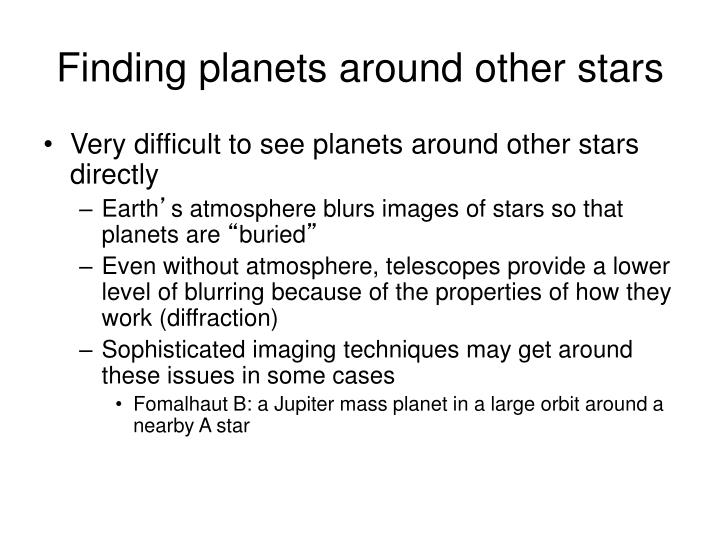 Finding planets around other stars