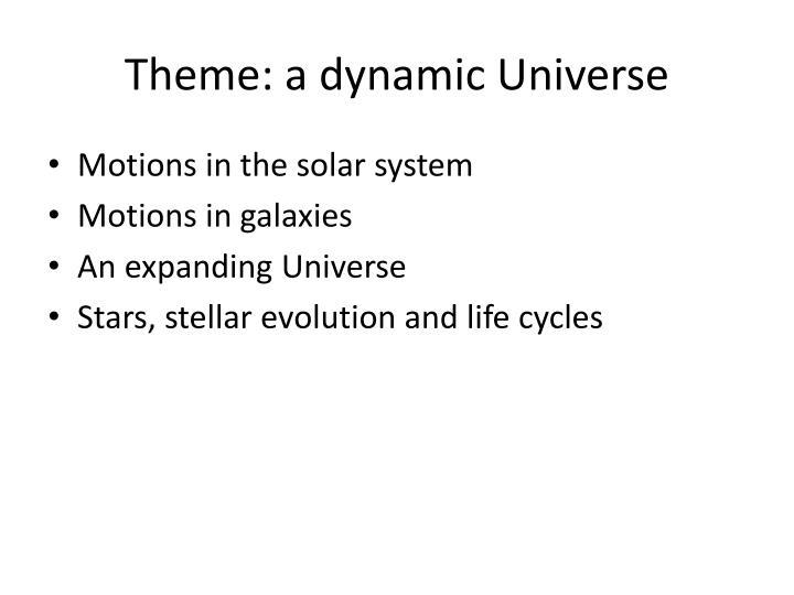 Theme: a dynamic Universe