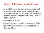 origin of the moon via giant impact