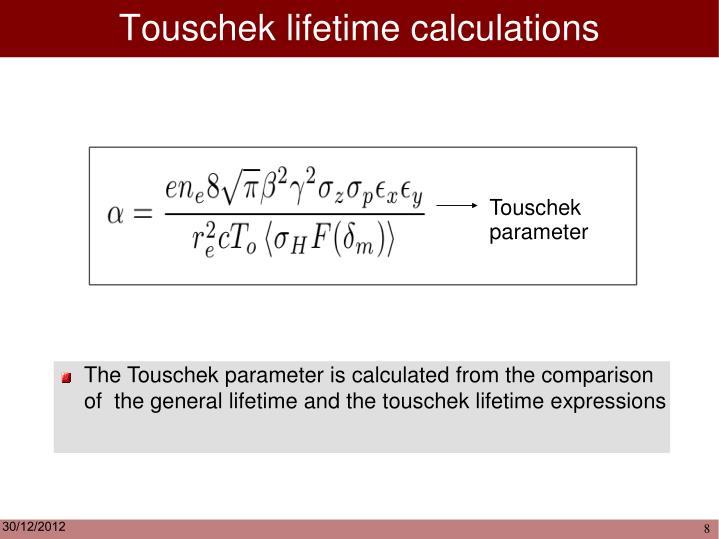 Touschek lifetime calculations