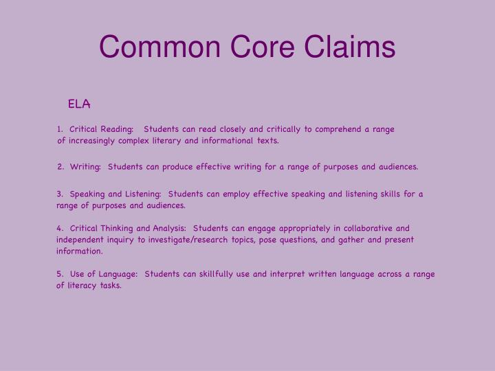 Common Core Claims