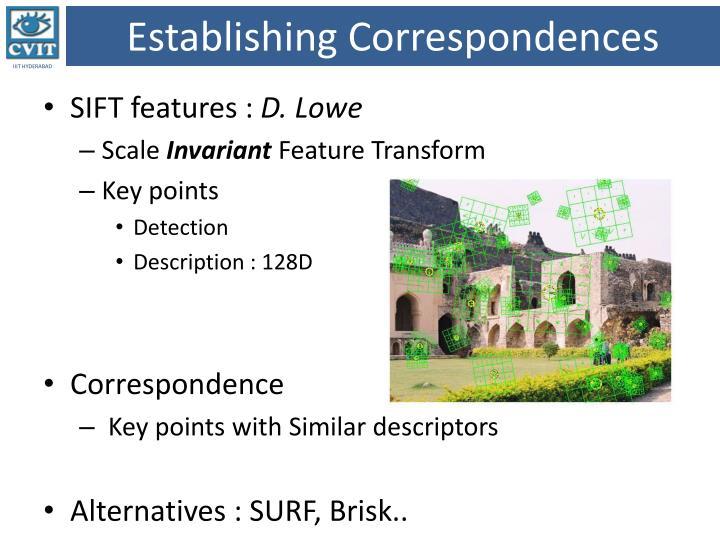 Establishing Correspondences