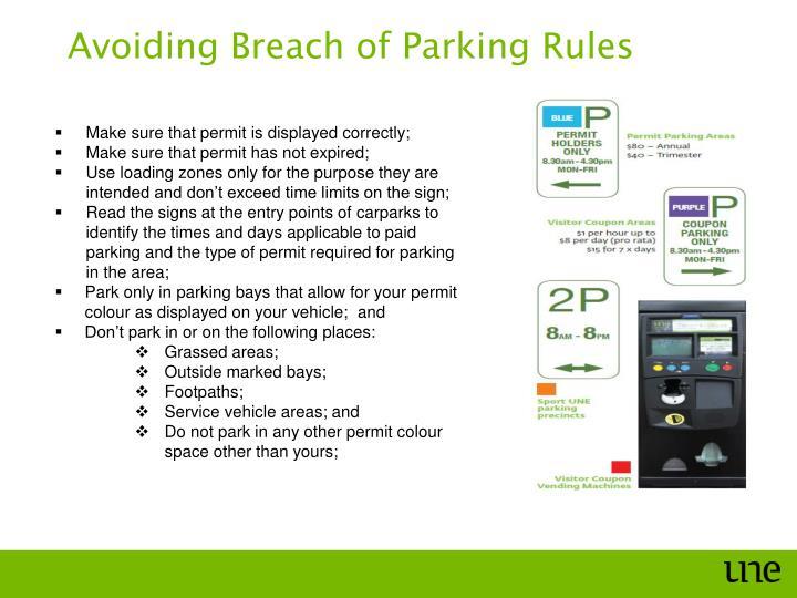 Avoiding Breach of Parking Rules